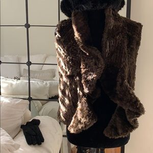 Jackets & Blazers - Brown Front Ruffled Faux Fur Vest